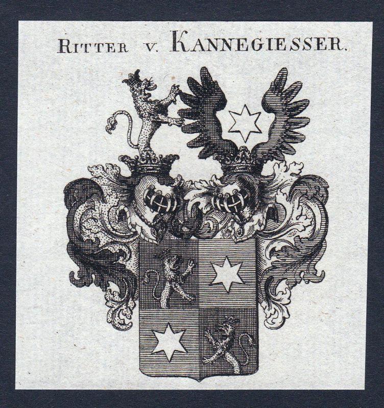Ca. 1820 Kannegiesser Kannegießer Wappen Adel coat of arms Kupferstich antique