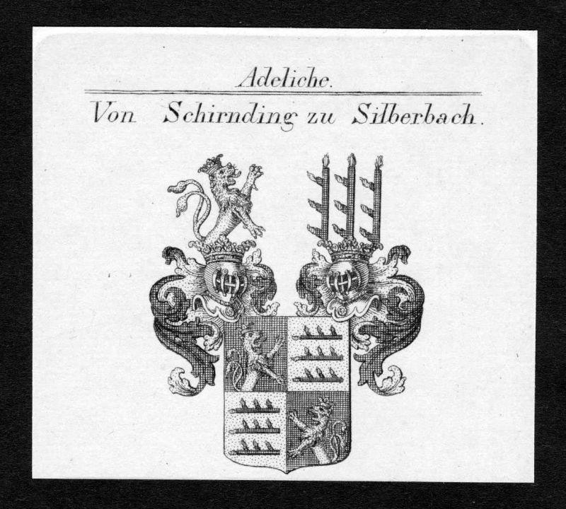 Ca.1820 Schirnding Silberbach Wappen Adel coat of arms Kupferstich antique print
