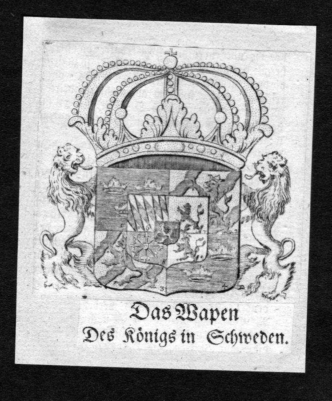 1750 - Schweden Wappen Adel coat of arms heraldry Heraldik Kupferstich