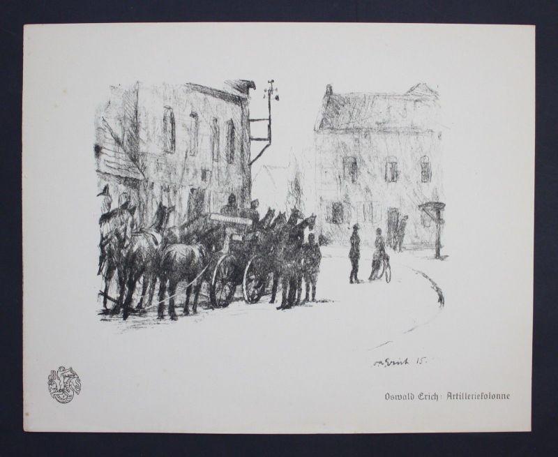 Oswald Erich Artilleriekolonne Weltkrieg Krieg Lithographie Berliner Secession