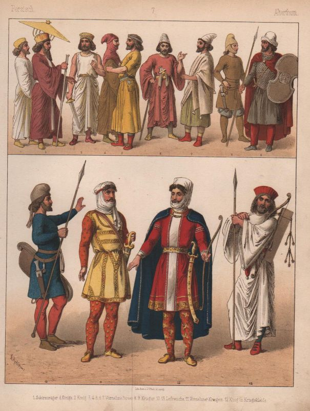 1880 Persien Iran Trachten Kostüme costumes Tracht Leipzig Bach