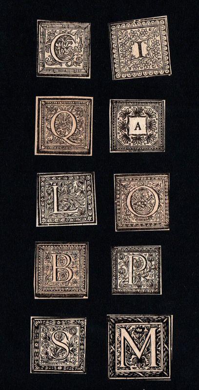 Konvolut 10 Ornament Kupferstich Buchstaben antique print lettres ca. 1700