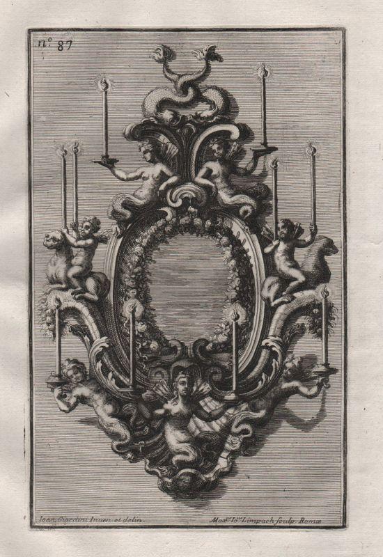 Kerzen Leuchter chandelier candles silver silversmith design baroque Kupferstich 0