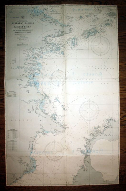1932 Borneo East Coast Sandakan Harbor Koetei River Asien admirality nautical