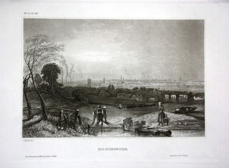 Ca. 1840 Manchester Ansicht Panorama England view Stahlstich engraving