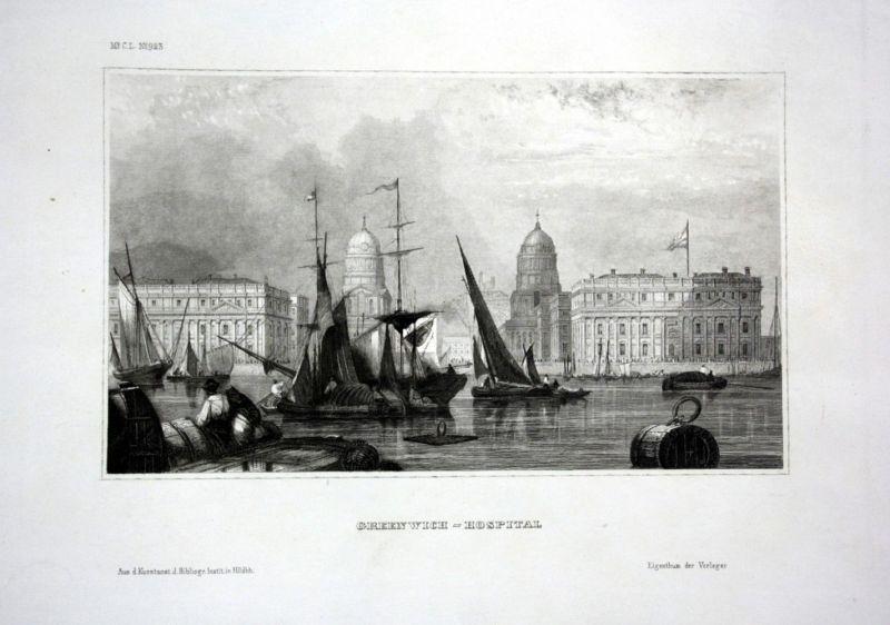 Ca. 1840 Greenwich Hospital Krankenhaus Ansicht view Stahlstich engraving