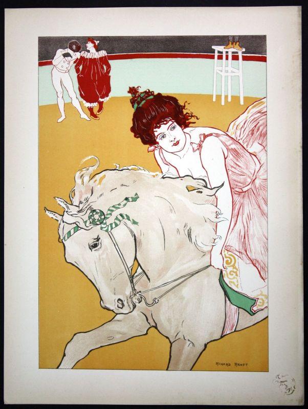 1897 Richard Ranft Art Nouveau Jugendstil Plakat Poster estampe Moderne circus