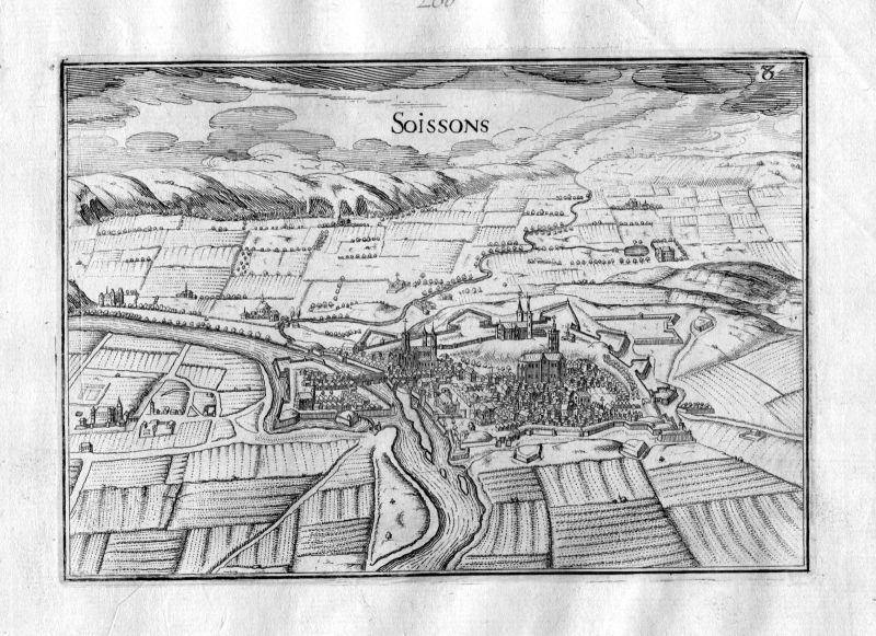 1633 Soissons Aisne Picardie Tassin gravure estampe Kupferstich engraving