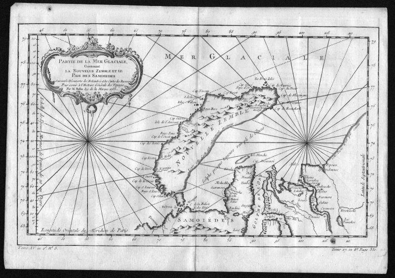 1758 Novaya Zemlya Nowaja Semlja Russia Island map Kupferstich engraving Bellin