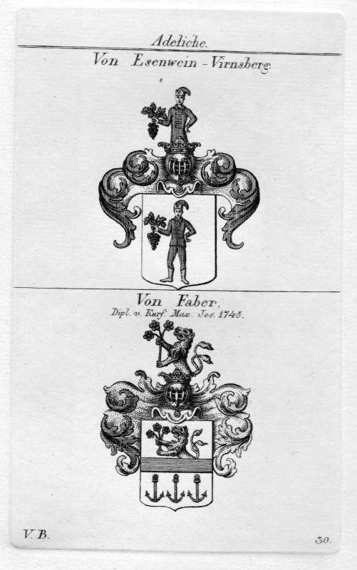 Esenwein / Faber - Wappen Adel coat of arms heraldry Heraldik Kupferstich