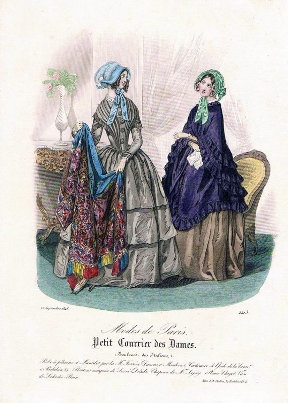 1846 Biedermeier Mode Kupferstich victorian fashion antique print etching  89734