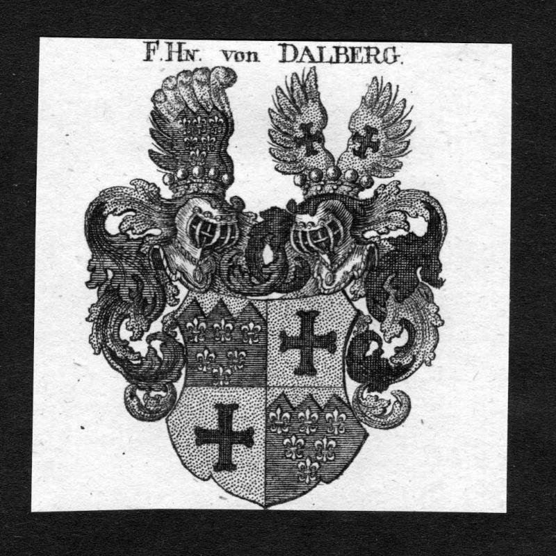 1820 - Dalberg Wappen Adel coat of arms heraldry Heraldik Kupferstich 125455
