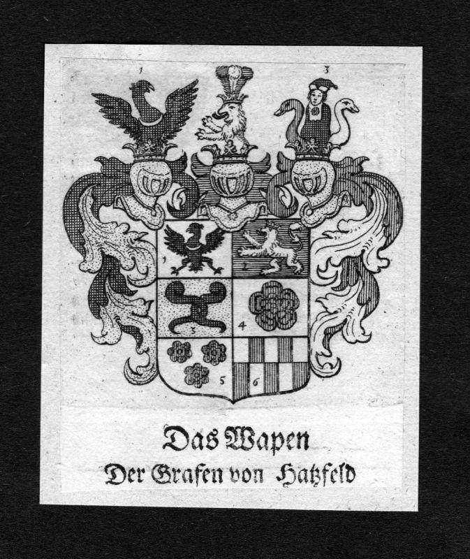 1750 - Hatzfeld Hatzfeldt Wappen Adel coat of arms heraldry Heraldik Kupferstich
