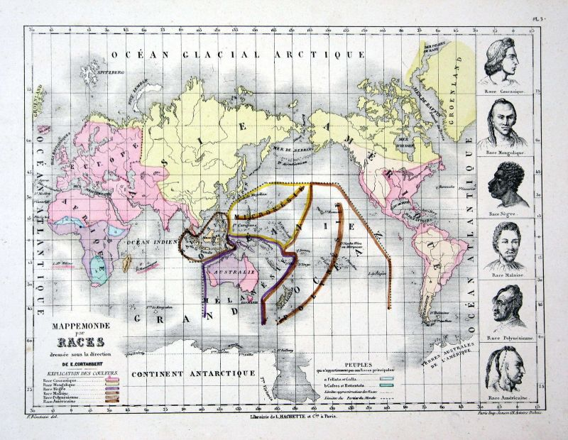 Asia Asien Afrika Africa Weltkarte Karte world map Lithographie lithograph Litho
