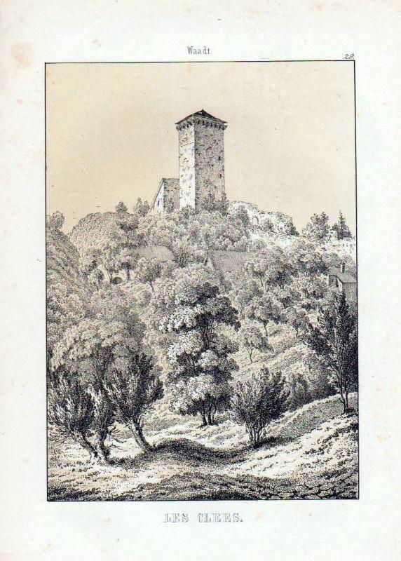 Schloss Les Clées / Schweiz - original Lithographie Ansicht Wagner, J. F.: