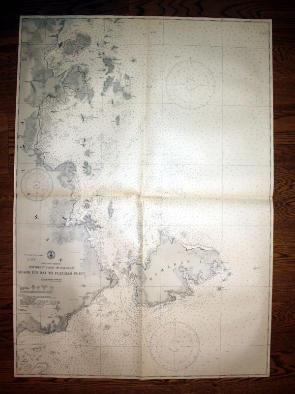 1940 Philippine Islands Palawan Shark Fin Bay Flechas Point map Karte chart plan