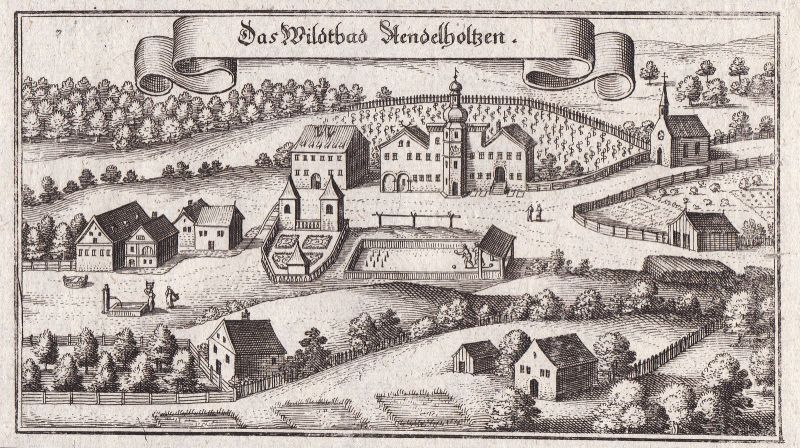 1650 Bad Adelholzen Siegsdorf Ansicht view Kupferstich antique print Merian