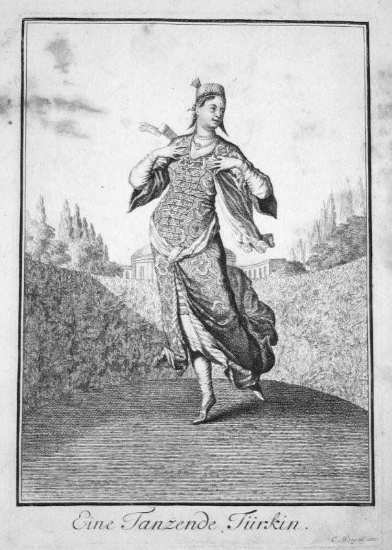 1703 Türkei Turkey dance costumes Trachten Kupferstich antique print Sta Clara