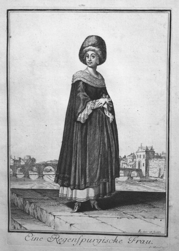 1703 Regensburg Frau Trachten costumes Kupferstich antique print Sancta Clara