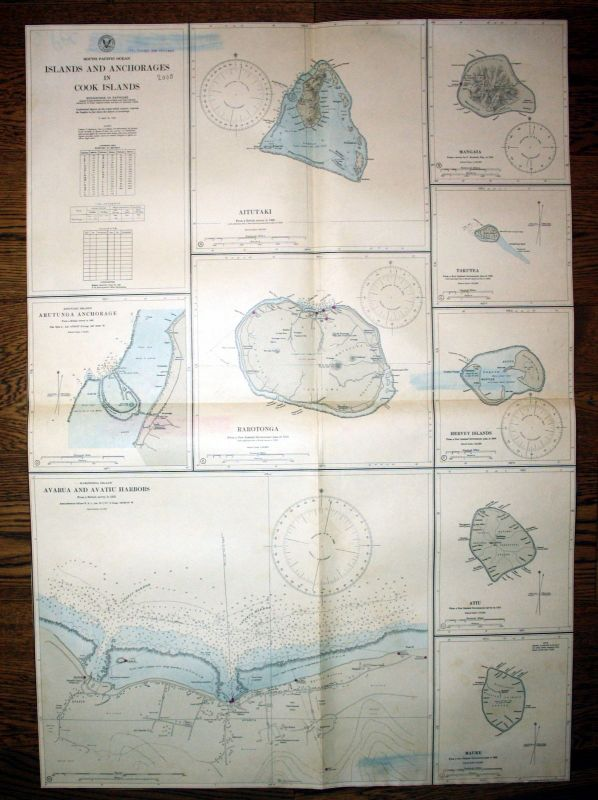 1940 South Pacific Ocean Islands Anchorages Cook Insel Neuseeland map Karte