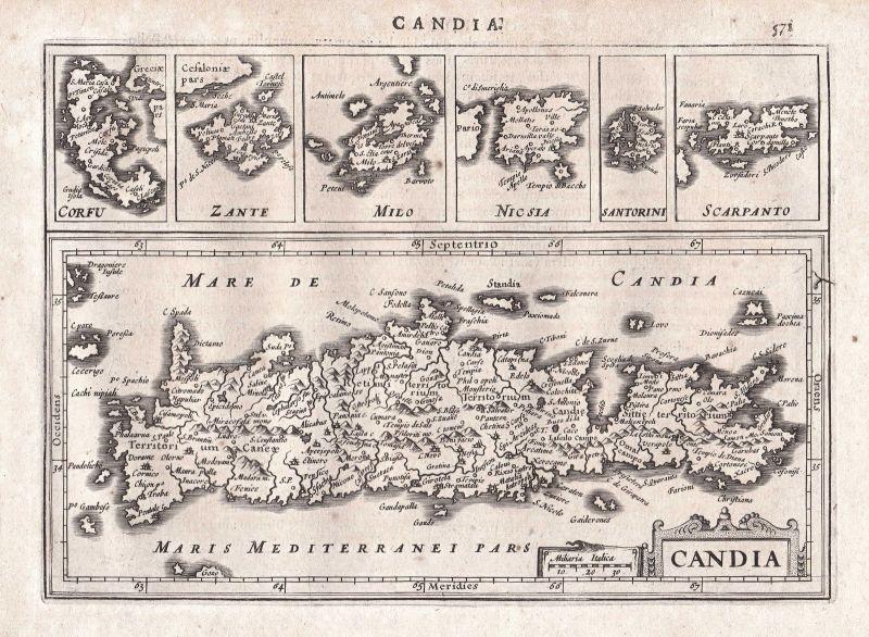 1628 Kreta Crete Iraklio Heraklion Chania Greece Griechenland map Karte Mercator
