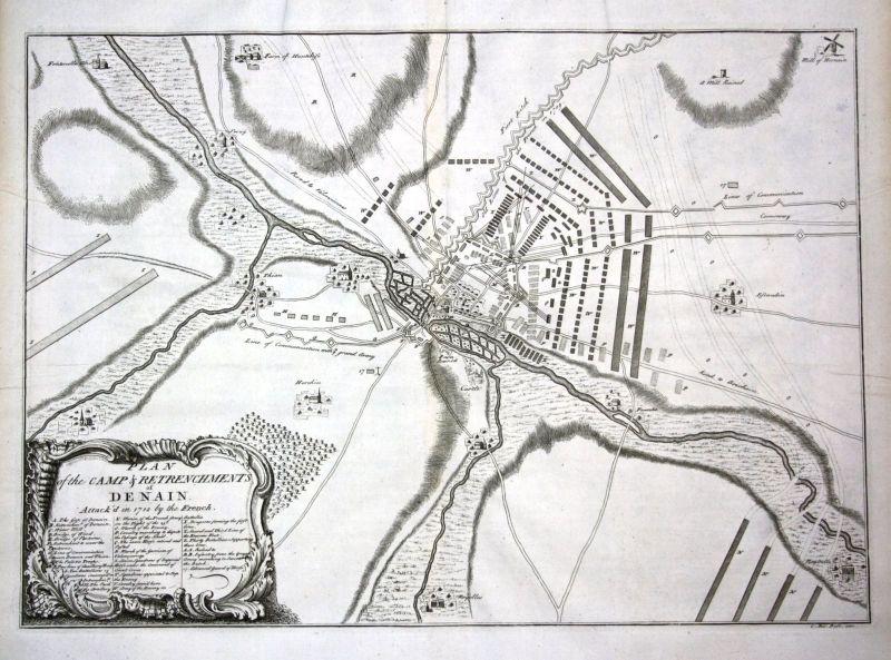 Denain / Nord-Pas-de-Calais - Plan of the Camp & Retrenchments of Denain Attacke