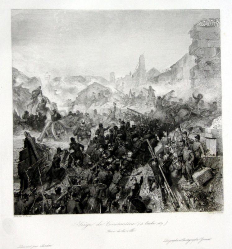 Ca. 1840 Siege Constantine Algeria Ansicht vue estampe Stahlstich antique 146845