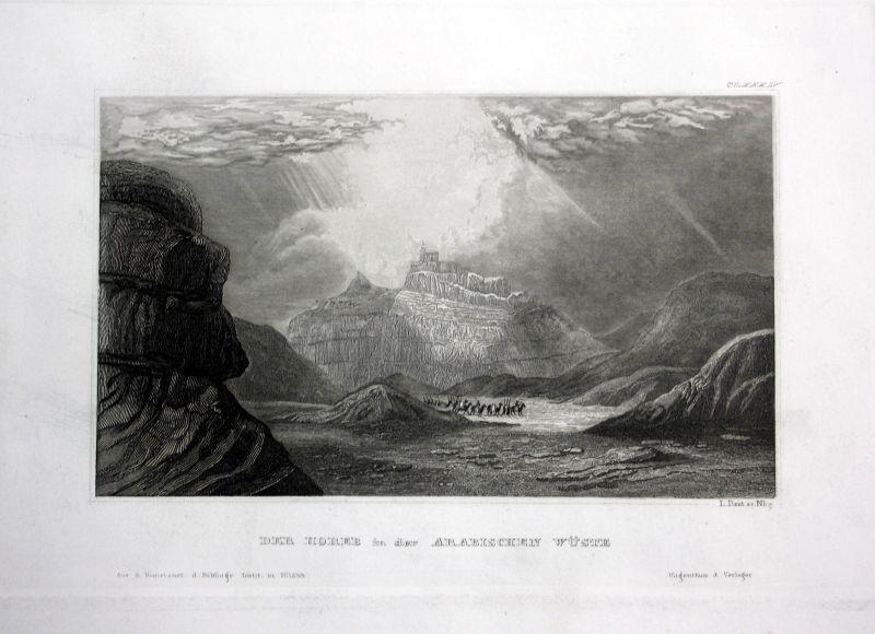 1840 Horeb Wüste Arabien Arabia Asien Asia Ansicht Stahlstich antique print view