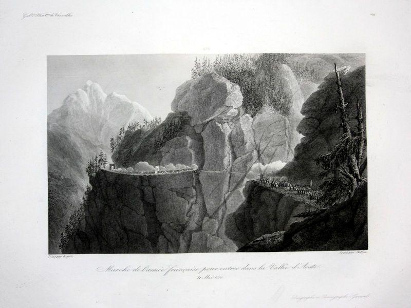 1840 Aoste marche armee militaria Ansicht vue estampe Stahlstich antique print
