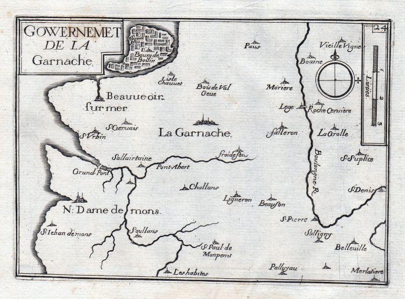 1630 La Garnache Pays de la Loire Vendée France gravure estampe Tassin