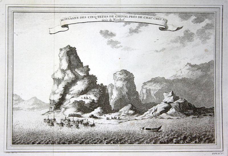 1750 Chau Cheu Fu China Berge mountains Ansicht view Kupferstich antique print