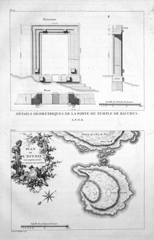 1820 Tempel Baalbek Bacchus Lebanon Libanon Kupferstich antique print Saint Non