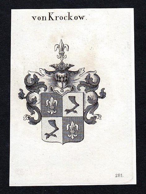 1820 Westpreußen Krockow Wappen Adel coat of arms Kupferstich engraving