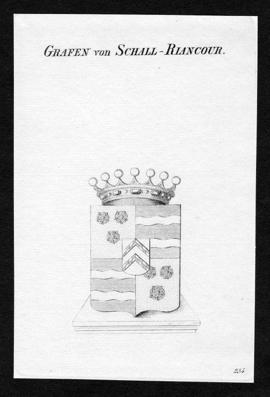 Ca. 1820 Schall-Riaucour Wappen Adel coat of arms Kupferstich antique print