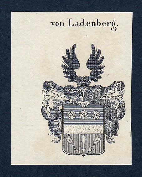 1820 Ladenberg Politiker Preußen Wappen Adel coat of arms Kupferstich engraving