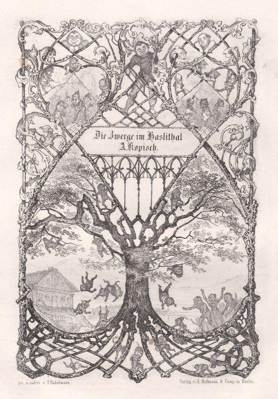 1848 Die Zwerge im Haslithal Gedicht Haslital etching Habelmann Kopisch