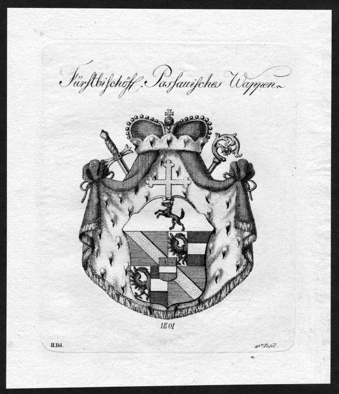 1801 - Passau Wappen Adel coat of arms heraldry Heraldik Kupferstich