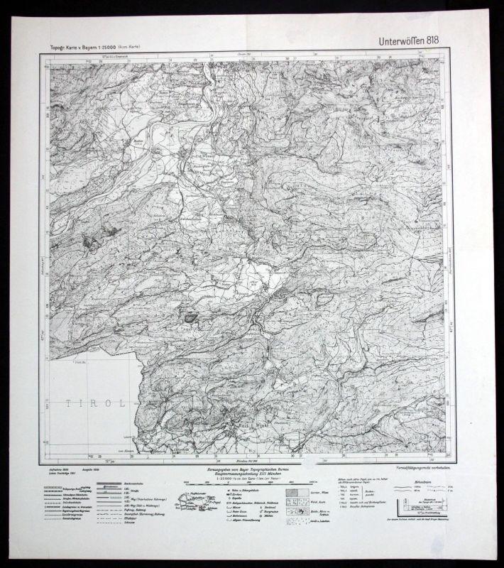 1941 Unterwössen Reit im Winkl Hinterwössen 1:25000 Karte Meßtischblatt