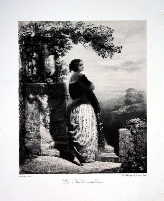 1857 Dame Nachtwandlerin sleepwalker woman Lithographie Litho Alfred Bournye