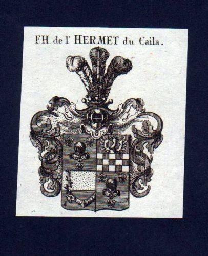 1780 - Freiherr de l'Hermet du Caila Kupferstich Wappen