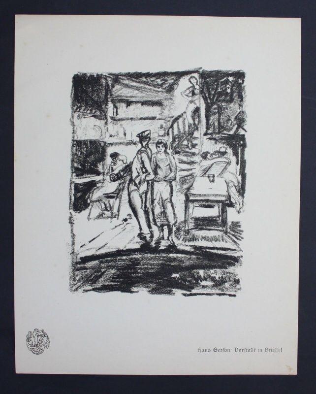 Hans Gerson Brussel Bruxelles war Krieg guerre Lithographie Berliner Secession