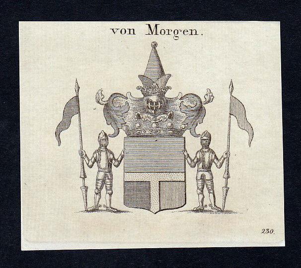 1820 Morgen Wappen Adel coat of arms heraldry Heraldik Kupferstich engraving