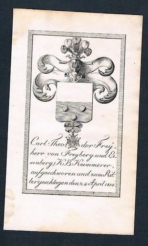 1825 - Karl Theodor v. Freyberg Eisenberg Wappen Kupfer