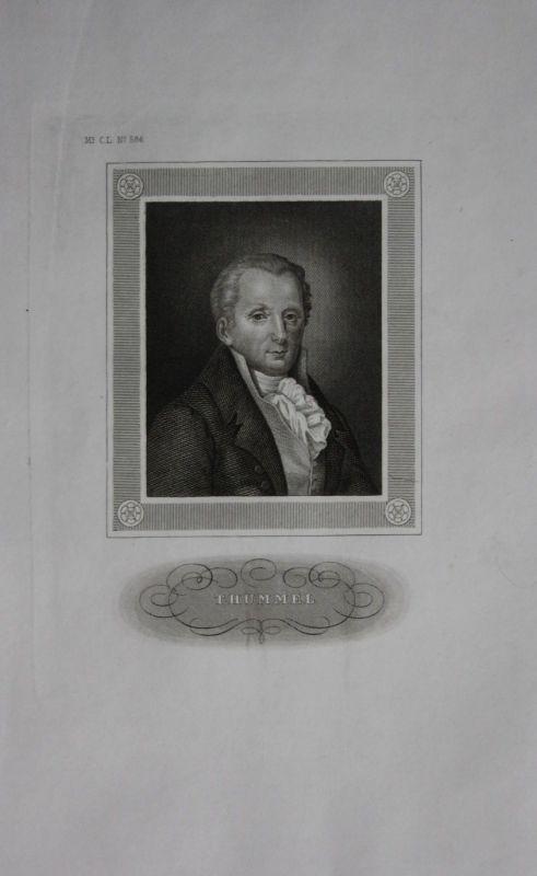 1850 - Moritz August von Thümmel Schriftsteller engraving Stahlstich Portrait