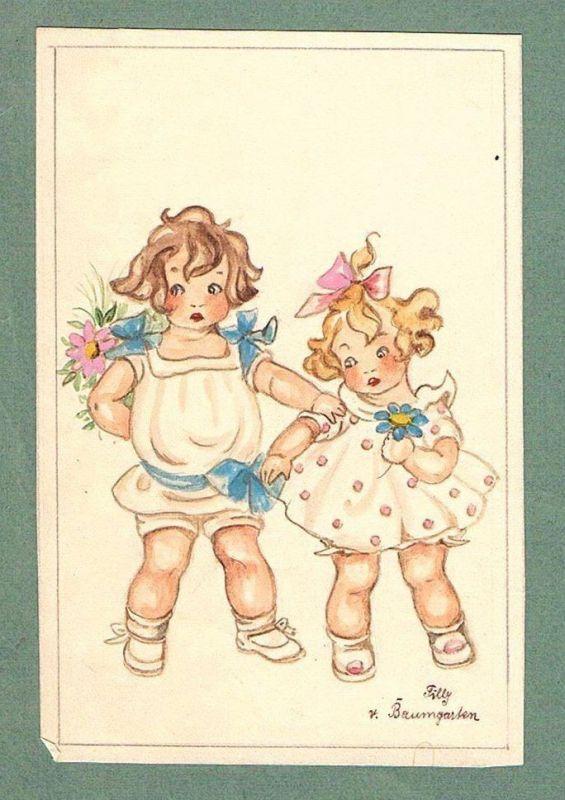 Kinder children Mädchen Tilly von Baumgarten-Haindl Zeichnung drawing 103594