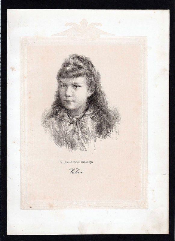 1875 - Erzherzogin Valerie Mathilde Amalie von Österreich Lithographie Portrait