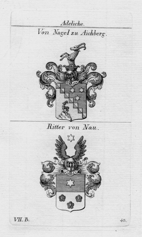 1820 - Nagel Aichberg Nau Wappen coat of arms heraldry Heraldik Kupferstich