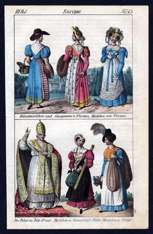 1830 - Florenz Pabst Camaldoli Italien Campi Trachten Lithographie antique print