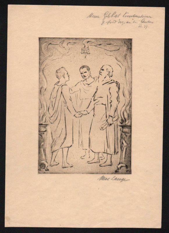 1927 - Max Lange - Original Radierung signiert München etching signed