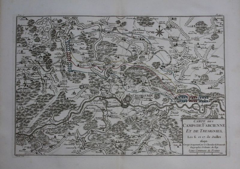 1760 - Charleroi Thuin Chatelet Courcelles map Karte Kupferstich gravure